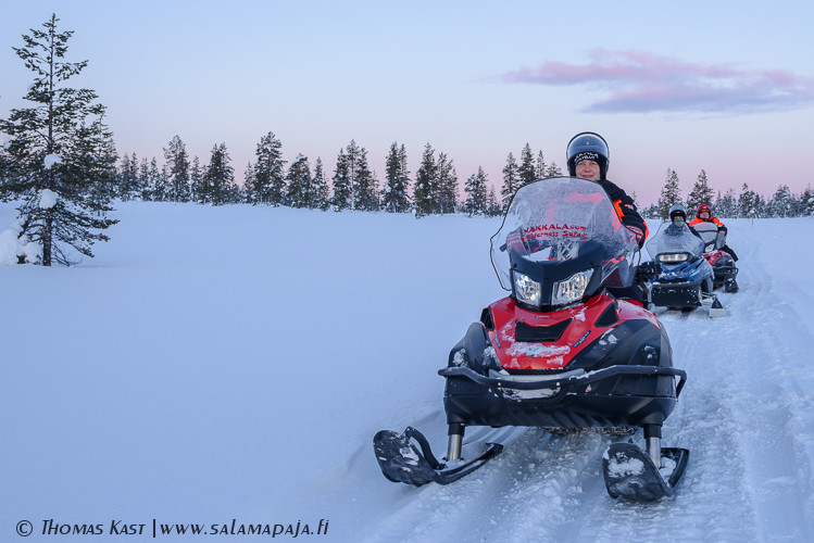 Guided snowmobile safari in Hetta area